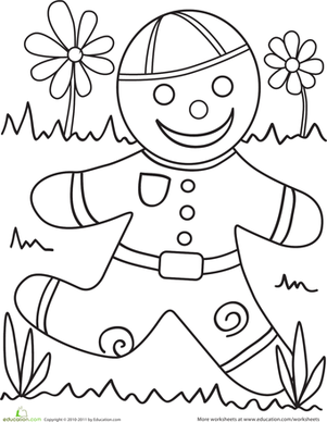 Preschool Coloring Worksheets: Color the Gingerbread Man