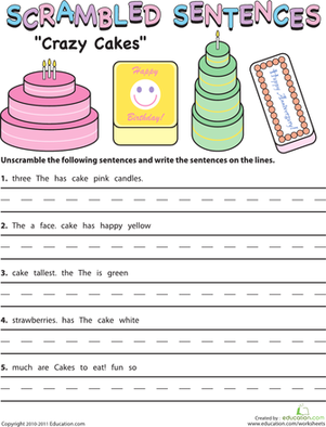 Second Grade Reading & Writing Worksheets: Scrambled Sentences: Crazy Cakes