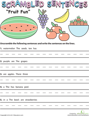 Second Grade Reading & Writing Worksheets: Scrambled Sentences: Fruit Fun