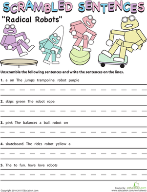 Second Grade Reading & Writing Worksheets: Scrambled Sentences: Radical Robots