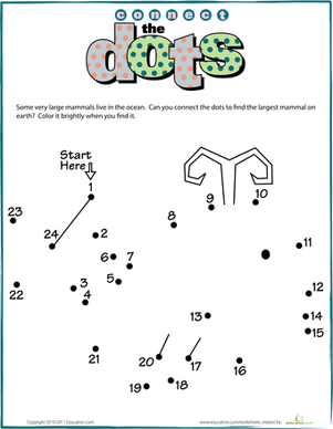 Preschool Math Worksheets: Connect the Dots: Whale