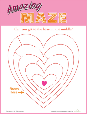 Kindergarten Holidays & Seasons Worksheets: Heart Maze