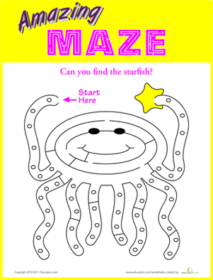 Kindergarten Offline games Worksheets: Octopus Maze