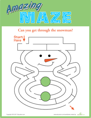 Kindergarten Offline games Worksheets: Snowman Maze
