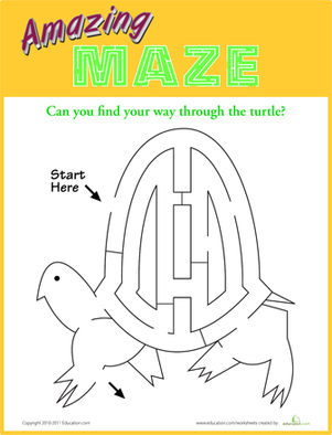 Kindergarten Offline Games Worksheets: Turtle Maze