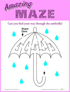 Kindergarten Offline Games Worksheets: Umbrella Maze