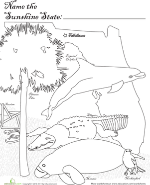 First Grade Coloring Worksheets: Sunshine State