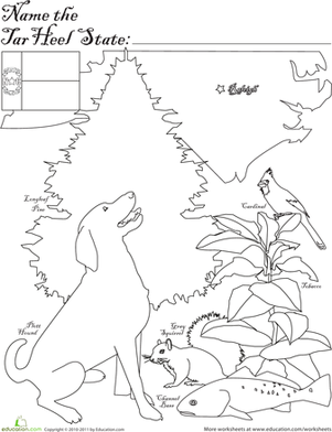 First Grade Coloring Worksheets: Tar Heel State
