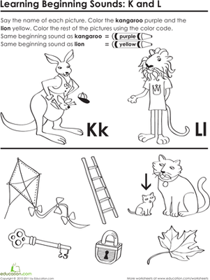 Preschool Reading & Writing Worksheets: Beginning Sounds: K and L