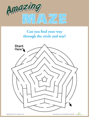 Kindergarten Offline Games Worksheets: Star Maze