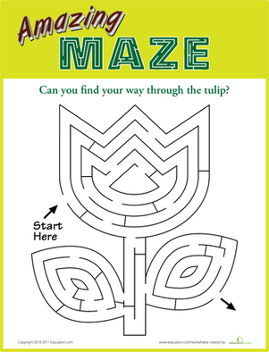Kindergarten Offline Games Worksheets: Amazing Maze: Tulip
