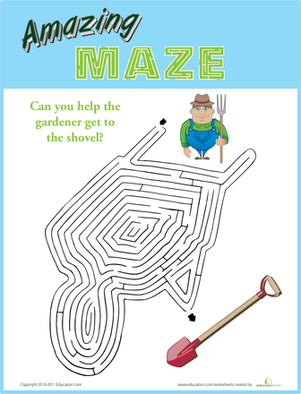 First Grade Offline Games Worksheets: Amazing Maze: Wheelbarrow