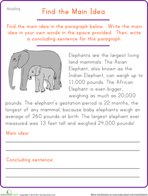 Main Idea Worksheet: Find the Main Idea  Elephant   Worksheet   Education com,