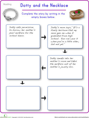Complete the Story: Dotty and the Necklace | Worksheet | Education.com