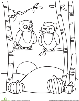 Color the Halloween Owls