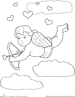 Preschool Holidays Worksheets: Cupid Coloring Page
