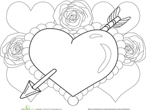 Preschool Holidays Worksheets: Valentine Heart Coloring Page