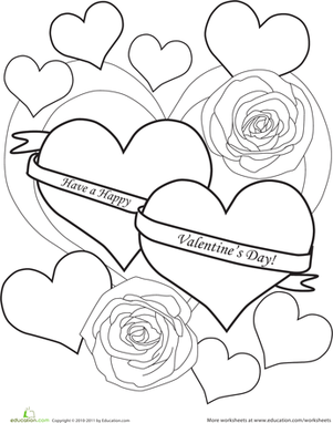 Preschool Holidays & Seasons Worksheets: Color the Happy Valentine's Day Message
