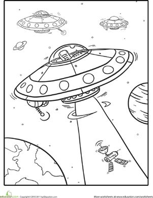 Outer space coloring spaceships worksheet for Outer space coloring page