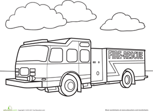 Preschool Coloring Worksheets: Fire Truck Coloring Page