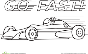 Preschool Coloring Worksheets: Color a Car: Fast Car