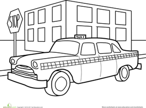 Preschool Coloring Worksheets: Taxi Coloring Page