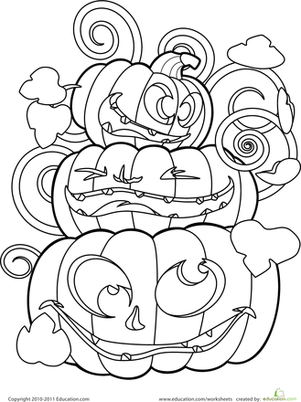 Kindergarten Holidays & Seasons Worksheets: Color the Crazy Jack-o'-Lanterns