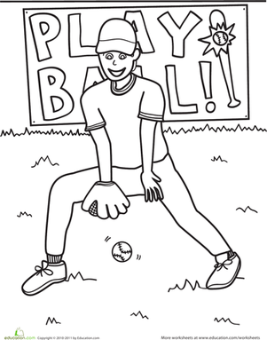 Kindergarten Coloring Worksheets: Color the Baseball Scene