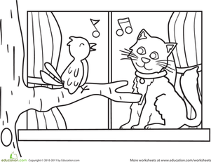 Preschool Coloring Worksheets: How Much is That Kitty in the Window?