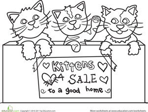 Kindergarten Coloring Worksheets: Kittens Coloring Page