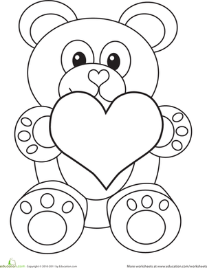 Preschool Holidays & Seasons Worksheets: Valentine's Day Bear Coloring Page