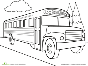 Second Grade Coloring Worksheets: Color the Car: School Bus