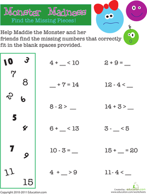 First Grade Math Worksheets: Math Monster Madness