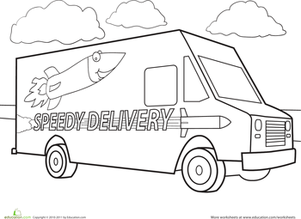 Kindergarten Coloring Worksheets: Color a Car: Delivery Truck