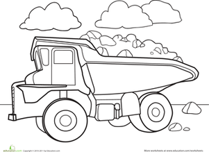 Color a Car Dump Truck Worksheet Educationcom