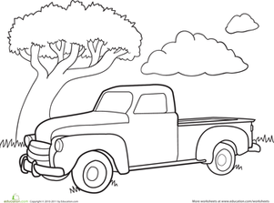 Kindergarten Coloring Worksheets: Color a Car: Classic Truck