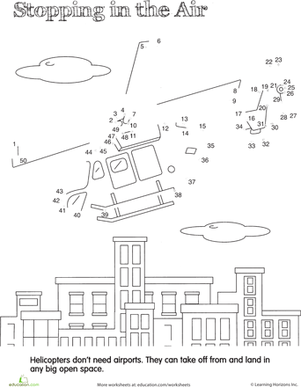 First Grade Math Worksheets: Dot to Dot Vehicles: Hovering Helicopter