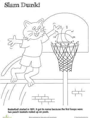 Preschool Math Worksheets: Slam Dunk! Dot to Dot
