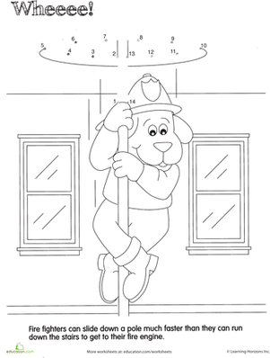 Preschool Math Worksheets: Fireman Dot to Dot: Whee!