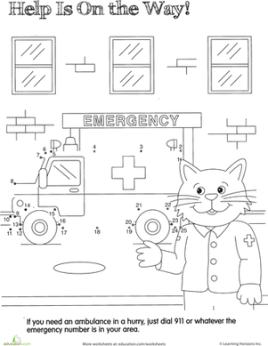 Kindergarten Math Worksheets: Ambulance Dot to Dot