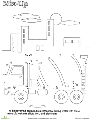Kindergarten Math Worksheets: Dot to Dot Concrete Mixer