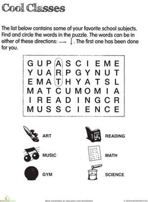 Second Grade Reading & Writing Worksheets: School Subject Word Search