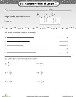 Third Grade Math Worksheets: Units of Measurement: Inches