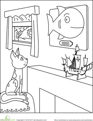 Kindergarten Coloring Worksheets: Color the Hungry Cat