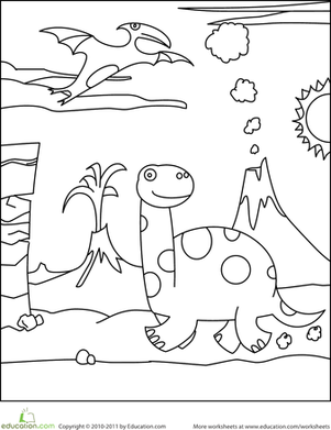 Preschool Coloring Worksheets: Color the Prancing Dinosaur