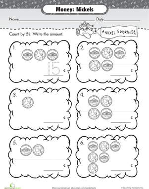 First Grade Math Worksheets: Money Match: Nickels