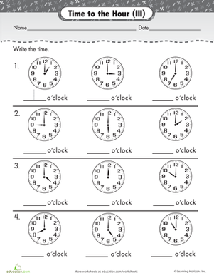 First Grade Math Worksheets: On the Hour: Write the Time #1