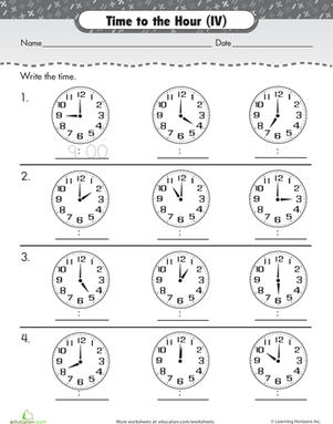 Grade 2 time worksheet: changes in time (whole hours) | K5 Learning