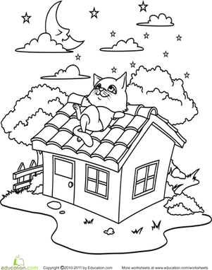 Kindergarten Coloring Worksheets: Color the Stargazing Kitty