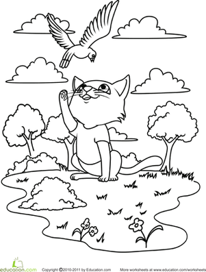 Kindergarten Coloring Worksheets: Color the Playful Kitty